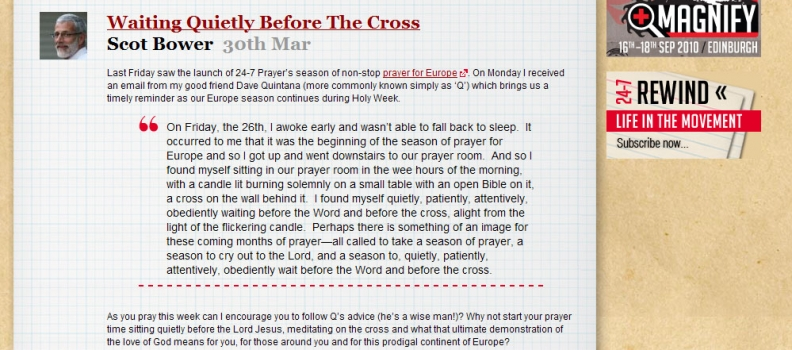 24-7 Prayer: Dave Quintana Waiting Quietly Before The Cross